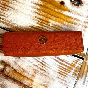 Tory Burch Orange Gold Slim Reading Glass Holder
